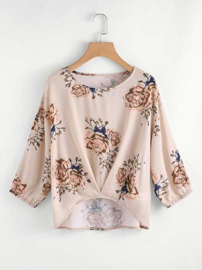 Pleated Gathered Hem Floral Top