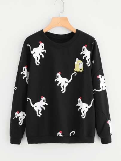 Allover Monkey Print Sweatshirt