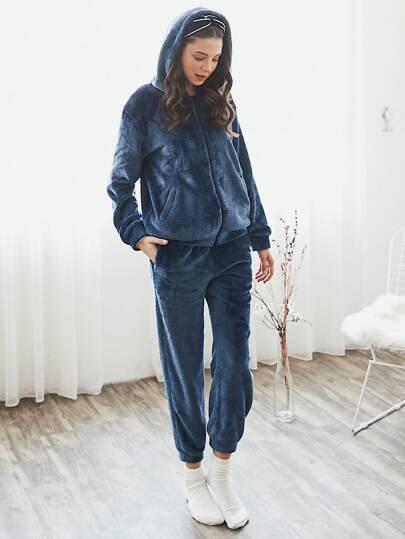 Zip Through Hooded Plush Coat & Pants PJ Set