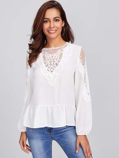 Embroidered Mesh Panel Lace Detail Frilled Top