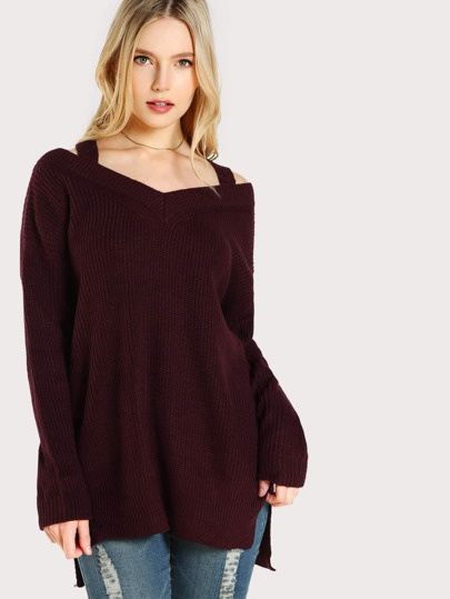 Cold Shoulder Ribbed Sweater RUST