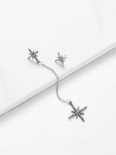 Rhinestone Starburst Mismatch Earrings