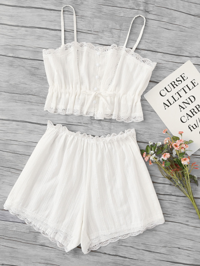 Scallop Lace Trim Cami Pajama Set