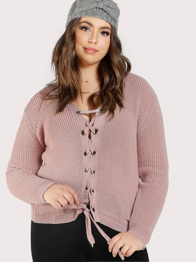 Lace Up Ribbed Sweater MAUVE