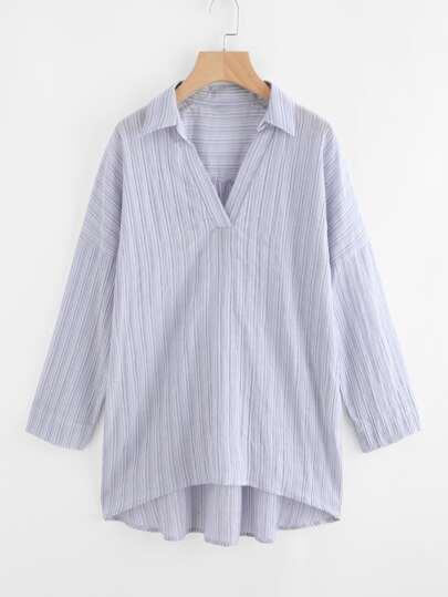 V Placket Drop Shoulder Striped Shirt