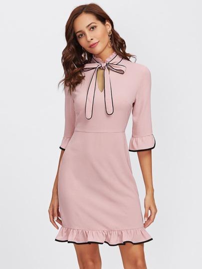 Tie Neck Contrast Binding Ruffle Dress