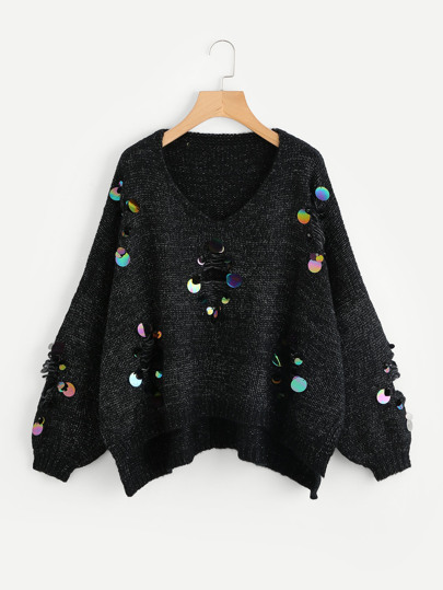 Iridescent Sequin Ripped Marled Knit Jumper