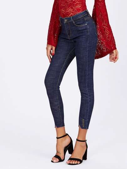 Cut Out Ripped Hem Skinny Jeans