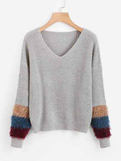 V Neckline Fur Cuff Sweater