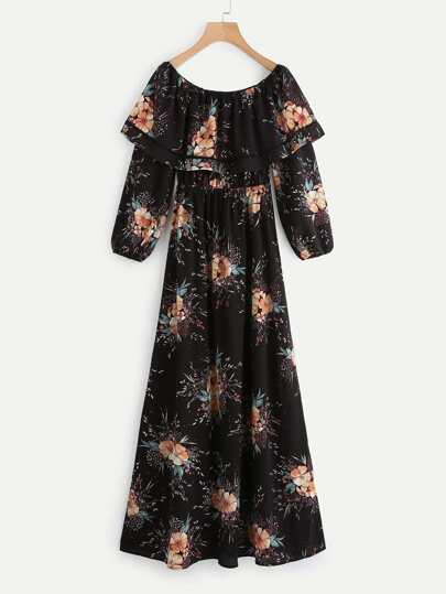 Lantern Sleeve Layered Flounce Bardot Dress