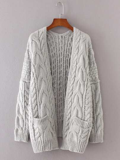 Drop Shoulder Cable Knit Cardigan