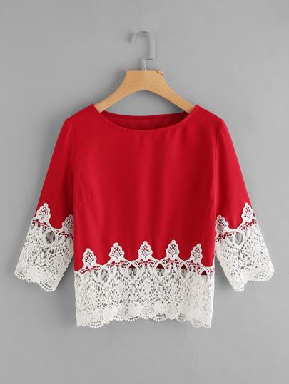 Lace Crochet Contrast Tee