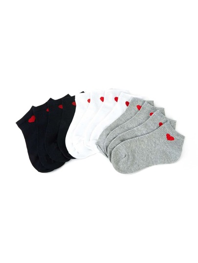 Heart Pattern Detail Ankle Socks 6pairs