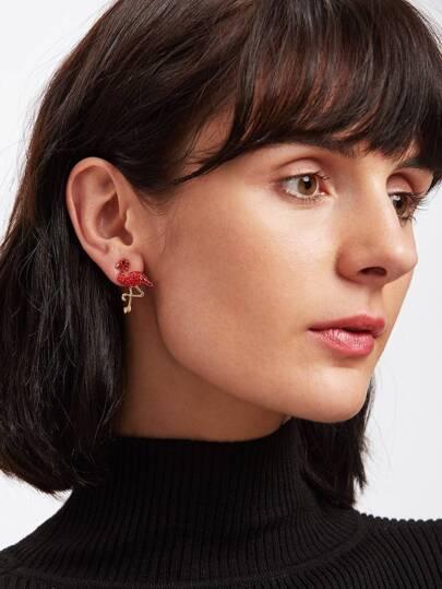 Rhinestone Decorated Flamingo Shaped Earrings