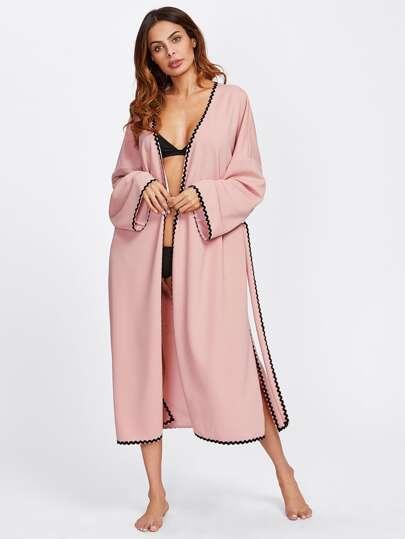 Wave Lace Trim Side Slit Belted Coat