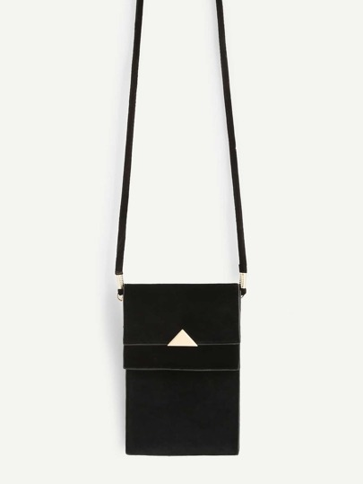 Triangle Metal Detail PVC Pouch Bag