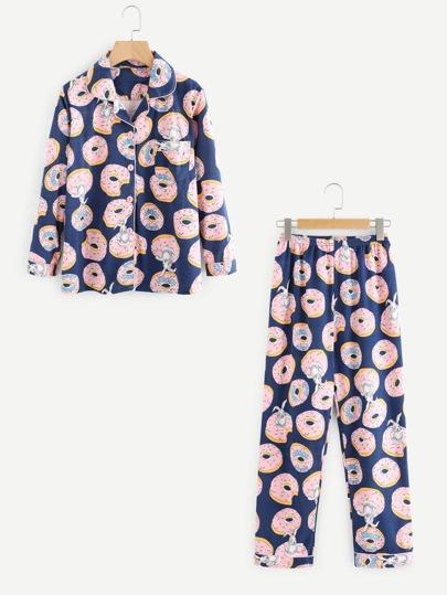Donuts Print Pajama Set