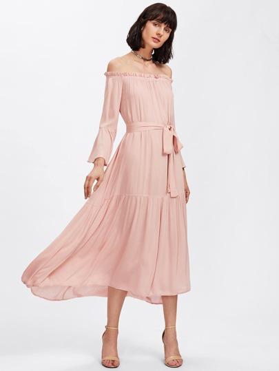 Self Tie Fluted Sleeve Tiered Bardot Dress