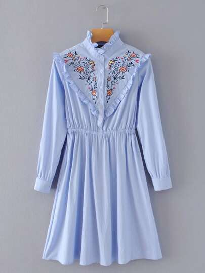 Ruffle Detail Embroidered Striped Shirt Dress