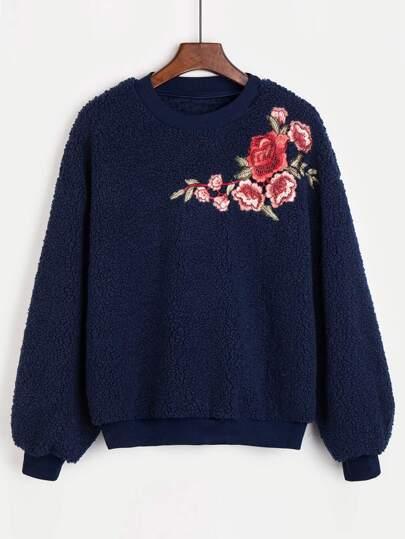 Embroidered Rose Applique Fluffy Sweatshirt
