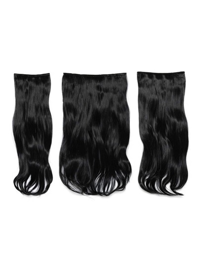 Natural Black Clip In Soft Wave Hair Extension 3pcs