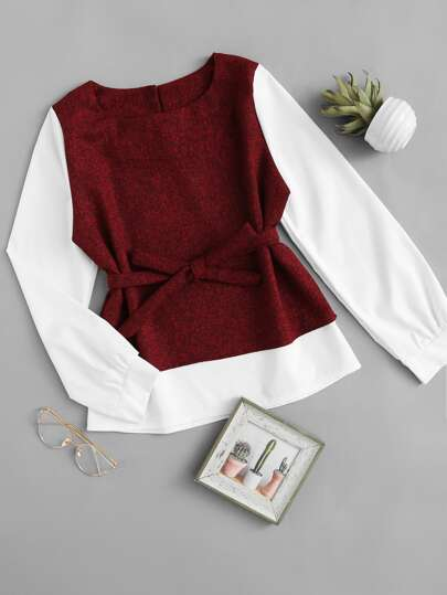 Cut And Sew Bow Tie Blouse