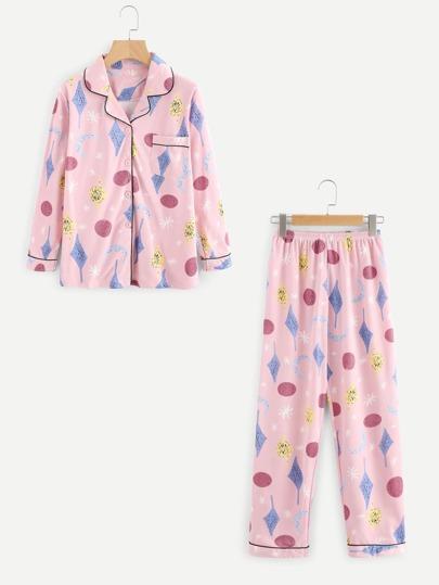 Revere Collar Graphic Print Pajama Set