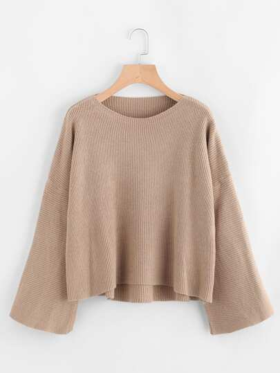 Dip Hem Ribbed Knit Sweater