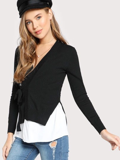 Contrast Belted Sweater BLACK