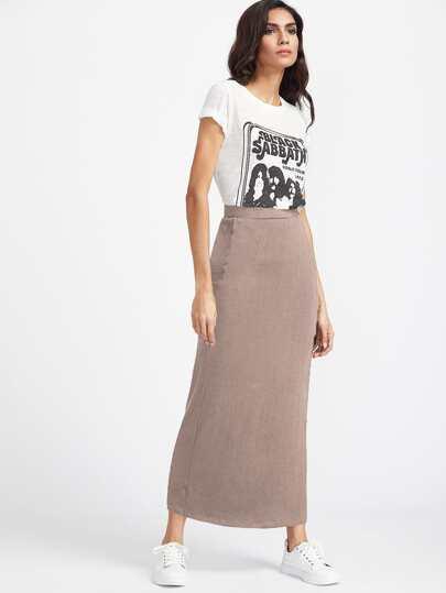 Falda larga con cintura elástica