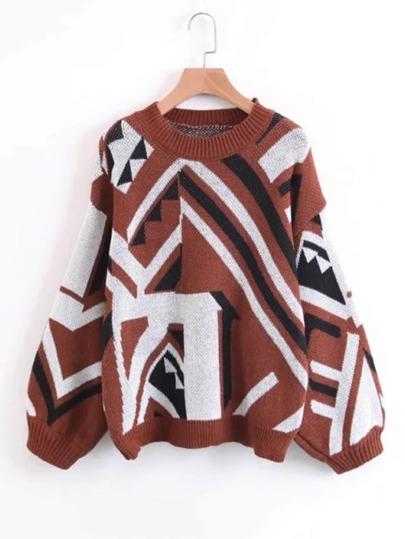 Jersey con manga farol y estampado azteca