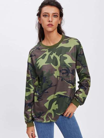 Single Pocket Camo Print Sweatshirt