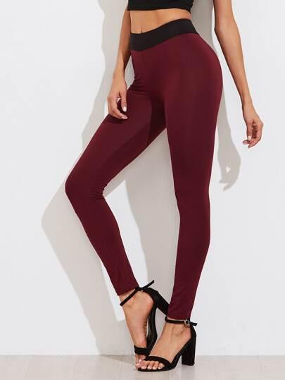 Contrast Waist Skinny Leggings