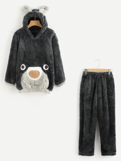 Conjunto de pijama con capucha de oreja de oso