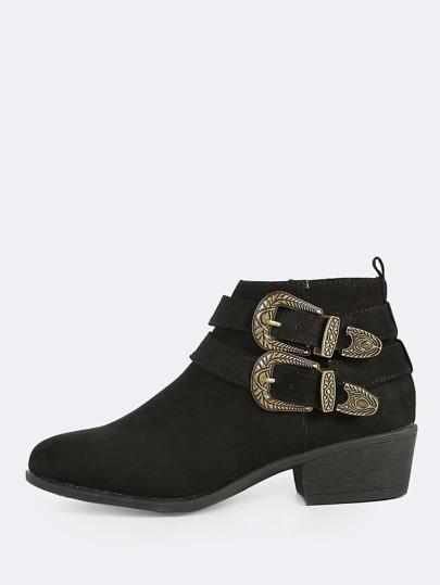 Zip Up Buckle Boots BLACK