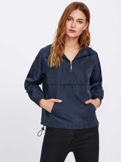 Pocket Front Drawstring Hem Hooded Windbreaker Pullover