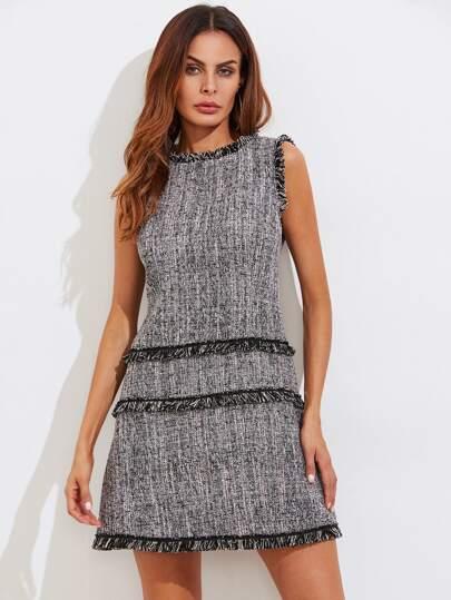 Fringe Detail Zip Back Tweed Dress