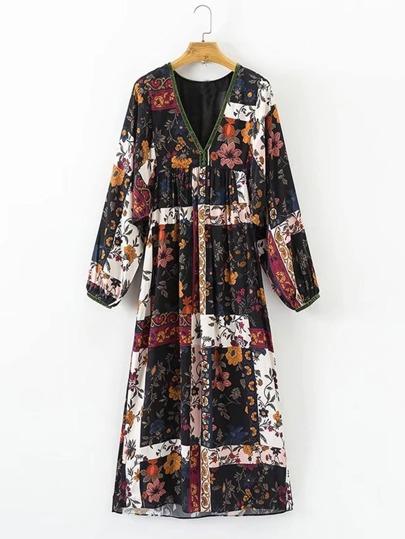 Midi Kleid mit Blumenmuster