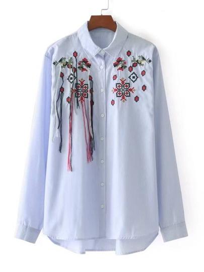 Embroidered Dip Hem Striped Blouse