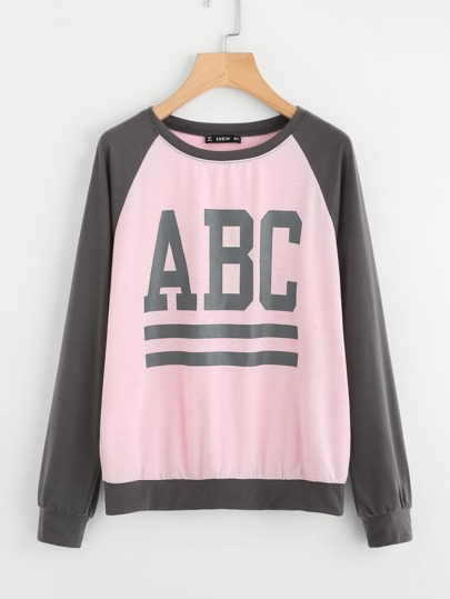 Contrast Raglan Sleeve Graphic Sweatshirt