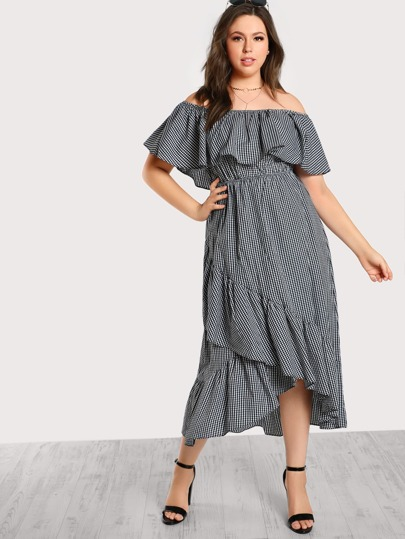 Off Shoulder Gingham Asymmetric Hem Dress
