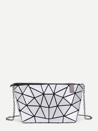 Geometric Pattern PU Chain Bag