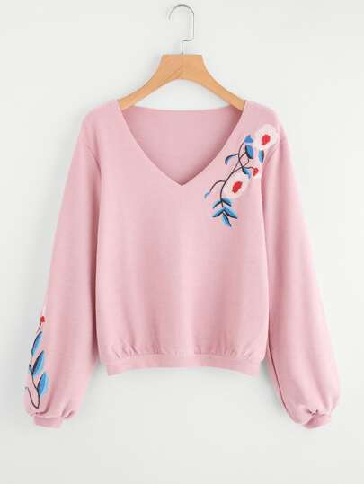 Flower Embroidered Ribbed Sweatshirt