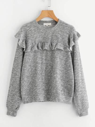 Ruffle Decroation Sweatshirt