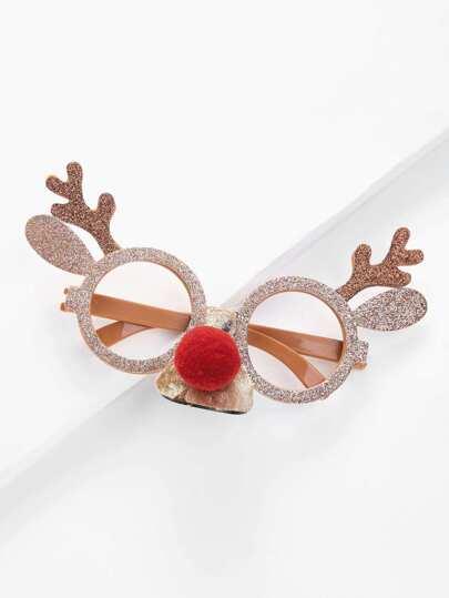 Christmas Elk Horn Glitter Glasses Frame