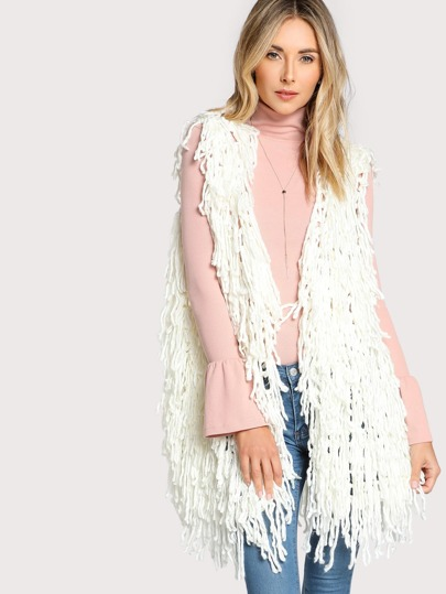 Crotchet Knitted Vest Sweater WHITE