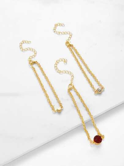 Round & Heart Charm Chain Bracelet