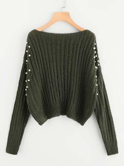 Pull tricoté avec embellissement de perle