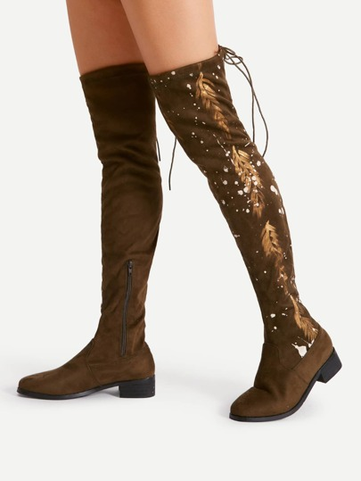 Feather Pattern Lace Up Thigh High Boots