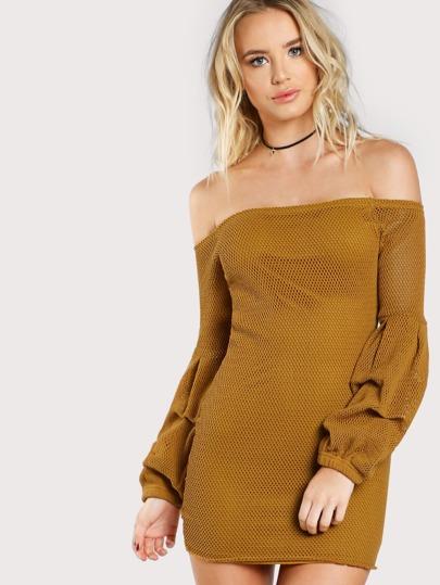 Heavy Knit Long Sleeve Off Shoulder Dress MUSTARD